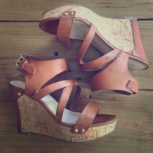 Guess cork wedge heel sandals